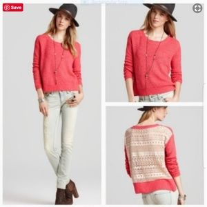 Free People Pink Pullover Sweater White Lace Sz M